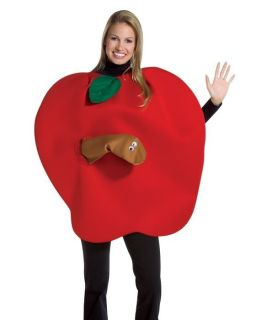 Adult Funny Red Apple w Worm Food Fruit Costume Outfit