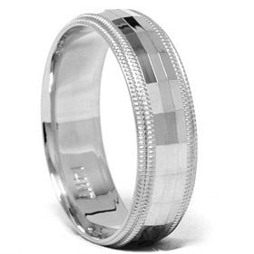 Solid 14k White Gold 6mm Comfort Fit Wedding Band Ring