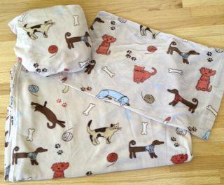 Twin Sheet Set Cat Dog Polyester Fleece Tan Brown Kitten Puppy Sheets