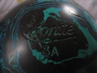 Vtg Pair Ebonite Duckpin 3 A Bowling Balls 2 Black Blue w Vtg Bag Red