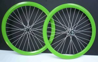 Fixed Gear Bike 700c 45mm Front & Rear Wheels set Neon Green / White