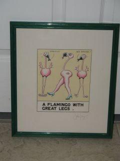 Pink Flamingo Framed Original Water Color Print Artist Signed 91 Pre