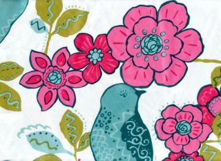 Floral Bird Vinyl Tablecloth Flannel Back Blue Pink Flowers Free
