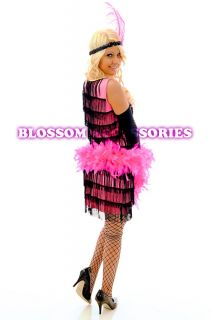 1920s Charleston Pink Flapper Party Fancy Dress Costume + Feather Boa