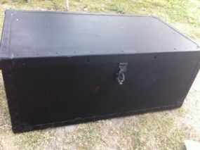Vintage Wood Metal Military Army Trunk Footlocker Foot Locker