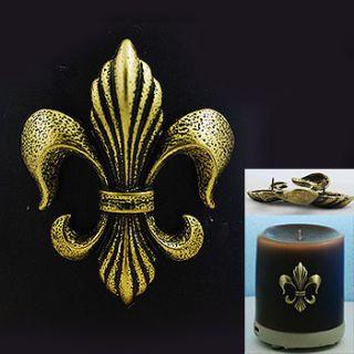 Elegant Antique Brass Fleur de Lis Candle Decorating Pin