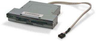in 1 media card reader with USB port and two slots for flash media