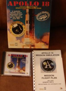 Apollo 18 NASA Space Flight Simulation PC Game CD ROM Complete Big Box