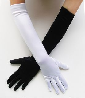 Stretch Satin Black White Gloves Bridal Wedding Prom Opera