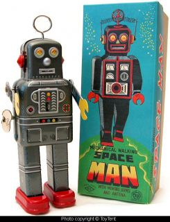 Limited edition mechanical walking Space Man robot with custom box