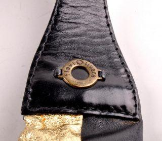 Flavio Olivera Flaviolivera Black Gold Leather Hobo Bag