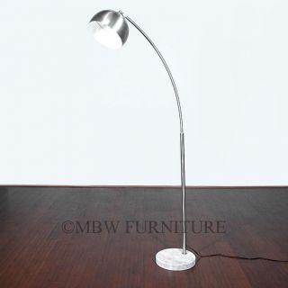 Silver Metal Mid Century Modern Bauhaus Arc Floor Lamp