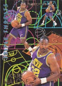 1994 95 Fleer Triple Threats 4 Karl Malone Utah Jazz