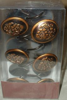 12pc Gold Bronze Fleur de Lis Shower Hooks Tuscan Bath Decor Scroll