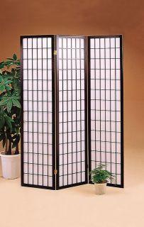 Elegant Room Divider 3 Panel Folding Screen Rice Paper Inlay