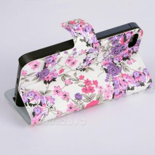 Purple Cute Floral Book Flip Case Cover Pouch Pocket Holster Fit Fr