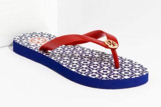 Tory Burch Enamel Logo Flip Flop Sandals Red Volcano Size 6