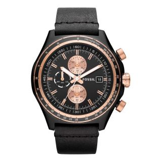 Fossil Dylan Leather Mens Stainless Steel Case Chronograph Watch