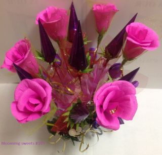 Elegant Chocolate Candy Flower Gift Basket Christmas Holiday Birthday
