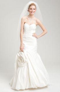 Skirt Rosette Detail Taffeta Wedding Gown 10 White Formal Dress