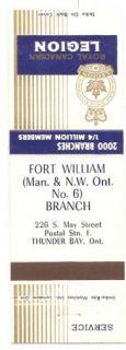 Legion Matchbook Cover Fort William Man N w Ontario Branch 6