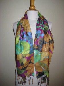 cashmink by v fraas floral leaf print scarf w fringe nwt