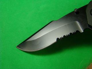 Blk SS Assist Open All Black Super Knife Spider Pocket Knife