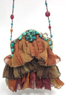 Mary Frances Multicolor Ruffle Turquoise Beaded Handbag