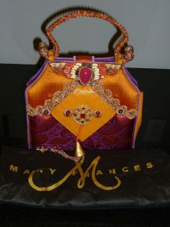 Mary Frances jeweled evening purse bag Orange purple beaded w dustbag