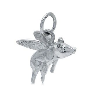 925 sterling silver flying pig charm pendant