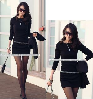 New Womens Ladies Mini Dress Long Sleeve Casual Sequin Cotton Knitted