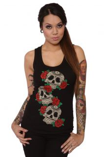 Folter Skull Roses Corset Beater Lace Up Top Sexy Top