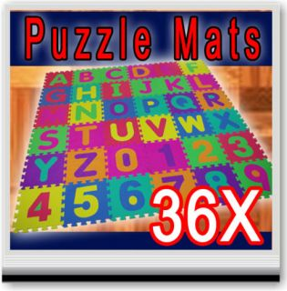 36 Sq ft Alphabet Numbers Soft Foam Play Puzzle Mats