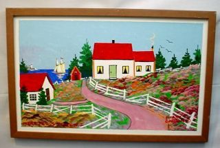 Scotia Folk Art Original Painting Frank Carson Near Peggys Cove
