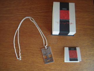 Frank Lloyd Wright silver Tree of Life Pendant and 18 chain