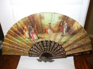 Vintage Cloth with Colonial Scene Folding Fan