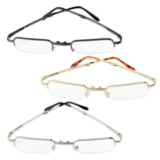 Compact Folding Reading Glasses Gold Silver or Gunmetal Powers 1 00 3