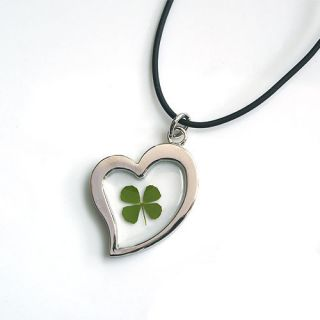 real four leaf clover irish lucky charm necklace
