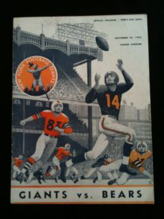Vintage New York Giants vs Chicago Bears Original NFL Football Program