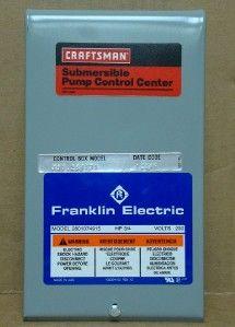 Franklin Craftaman Submersible 3/4 HP Pump/Motor Control Center