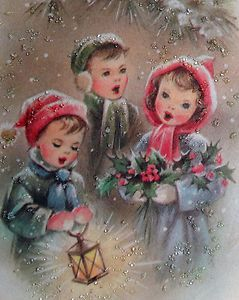60s Glittered Children Sing Vintage Christmas Card 420