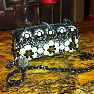 Mary Frances Black Beaded Handbag Purse Shoulderbag