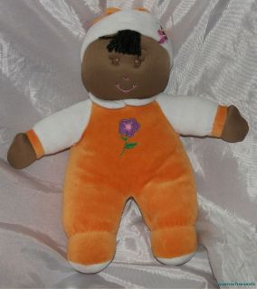Plush 12 African American First Soft Sweet Baby Doll w Rattle