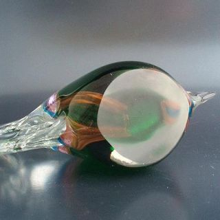 Green & Pink Sommerso Art Glass Tropical Fish Sculpture Murano?