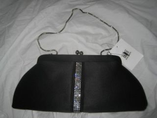nwt franchi rhinestone purse clutch evening bag black