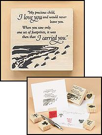 Footprints Religious Rubber Mounted Wood Wooden Stamp Crafts New