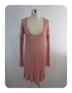 New Free People Guava Pink Angle Cable Love Sweater Dress Medium $128
