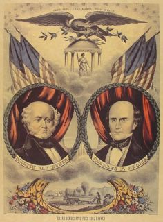 1818 Democrat Free Soil Party Campaign Poster Martin Van Buren Adams