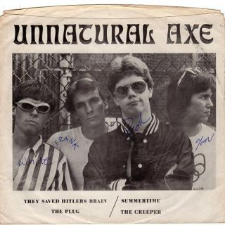 Unnatural Axe They Saved Hitlers Brain Fully Autographed Punk KBD
