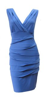 French Blue Stretch Contour Pencil Cocktail Dress Verity Size 12 New